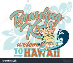 Cute kitten surfing Hawaii, artwork for children wear custom colors