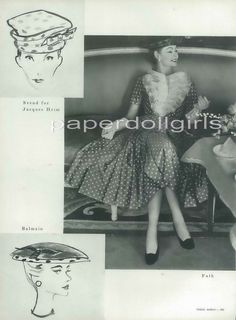 Vogue 1956 Magazine Advertisement Jacques Fath Polka Dot Day Dress