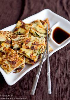 food and drinks: Korean Zucchini Vegetable Pancakes - (Free Recipe . Zucchini Vegetable, Vegetable Pancakes, Zucchini Pancakes, Potato Pancakes, Carrot Pancakes, Scallion Pancakes, Pancakes Easy, Korean Dishes, Korean Food