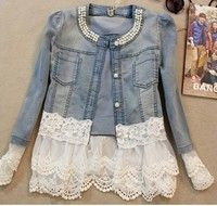I think you'll like 2014  women outerwear slim lace patchwork long-sleeve denim short jacket lady vintage jeans jacket Coat. Add it to your wishlist!  http://www.wish.com/c/53e34e4fd911393a037eb965