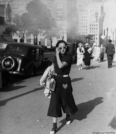 Hollywood street scene, 1936. It's a bold look she's got there.