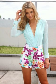 Mint Lake Bodysuit And Floral Shorts