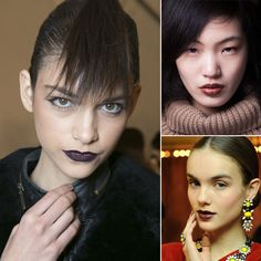 Fall 2013: Moody Lips: It's time to revisit your darker lipsticks this Fall. We saw plenty of deep, moody lip shades, from practically black to vampy reds and tonal browns.