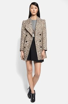 Carven Double Breasted Leopard Print Coat