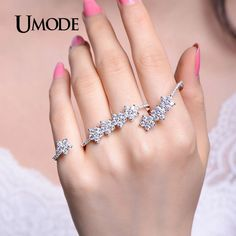 UMODE 2016 Gorgeous Adjustable Micro Cubic Zirconia Pave Four Finger Rings White Gold Color Jewelry for Women Anillos UR0304
