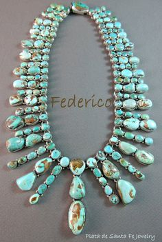 Turquoise Jewelry Necklace - ABOUT THE TURQUOISE: When it comes to designers that buy stones for their designs,there was one vendor that was the most sought out Stone Jewelry, Silver Jewelry, Jewelry Necklaces, Unique Jewelry, Silver Rings, Ethnic Jewelry, Gold Jewellery, Southwest Jewelry, Mexican Jewelry