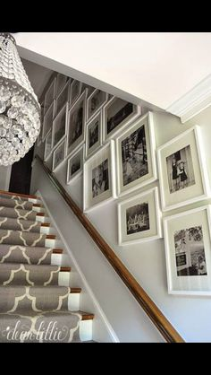 I like the stair runner pattern and pictures on the wall.