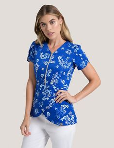 59d39942373 Tulip Top in Royal Blossom - Medical Scrubs