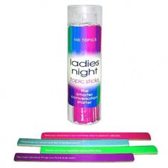 Ladies Night Topic Sticks - The Smarter Conversation Starter! Enjoy your next night out with this game - offers 100 topics which can be displayed for easy access in a decorative vase, bowl or plate as a centerpiece of conversation. Bachelorette Supplies, Bachelorette Party Games, Ladies Night, Girls Night Out, Girls Weekend, Pet Peeves, Bridezilla, Drinking Games, Conversation Starters