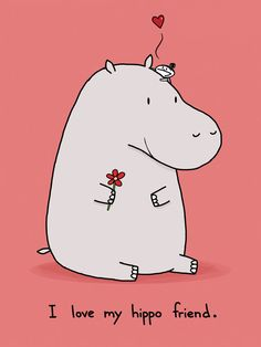 I Love My Hippo Friend Greeting Card by bikeparts on Etsy, $3.50