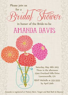 Mason jar and bright blooms Bridal Shower by PartyPopInvites, $17.00