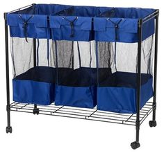 Household Essentials Triple Sorter Storage Bin with Wheels, Black Steel Frame by Household Essentials. $49.99. Measures 31-1/2 by 35-1/2 by 18 inches. Metal-frame sorter bin with 3 spacious compartments. Great for sorting, storage, or organizing; some assembly required. Heavy-duty black steel frame; 4 casters for durability and mobility. 3 removable nylon/nylon-mesh bags provide breathability and easy viewing. Built with durability and flexibility of use in mind, this WHITNEY DE...