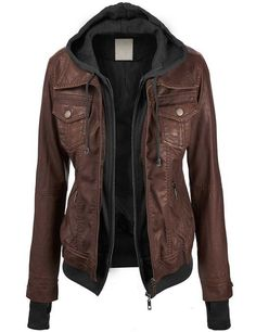 Lock and Love Women's 2-For-One Hooded Faux leather Jacket at Amazon Women's Clothing store: