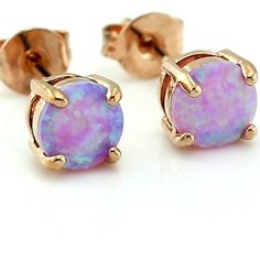 Rose Gold Plated Pink Fire Opal Earrings Rose gold backing /Pink fire Opal/ Man made/Round /Stud/ Price Firm Jewelry Earrings