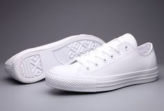 All white (completely all white) converse all-star chuck taylors, low cut, size 8 US womens