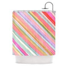 "Heidi Jennings ""Pastel Stripes"" Pink Multicolor Shower Curtain"