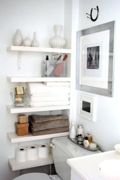 Awsome wall shelves for small bathroom storage design ideas. - SHW Home Decor Small bathroom storage is important for keeping your bathroom stay clean and tidy. If you have a small bathroom you are most likely in need of some bathroom Small Bathroom Organization, Home Organization, Organized Bathroom, Organizing Ideas, Narrow Bathroom Storage, Studio Apartment Organization, Bathroom Shelves For Towels, Organizing Solutions, Medicine Organization