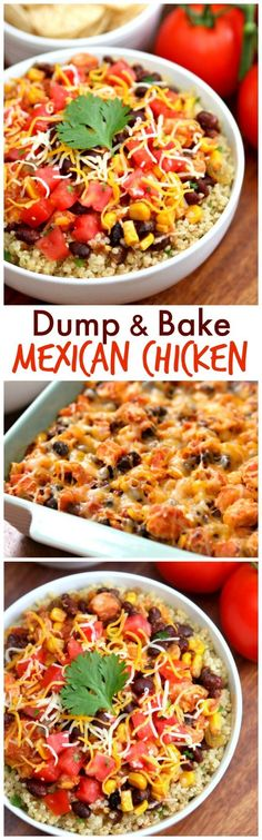 Easy Dinner Recipe - Dump and Bake Mexican Chicken. The perfect Taco Tuesday dinner idea http://www.happygoluckyblog.com/2016/09/dump-bake-mexican-chicken.html