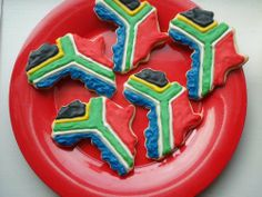 images of south african flag with food African Cake, African Theme, South African Flag, South African Recipes, Cake Decorating Tips, Cookie Decorating, African Salad, Animal Party, Party Animals