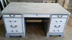 """Here is a big ol' executive desk just in time for that office refurnishing plan you have right? ;) What do you think?  The dimensions are 65"""" L, 35"""" W, 30"""" H. SOLD!! for $375 https://www.pinterest.com/shabbychictexas/my-shabby-chic-desks/"""