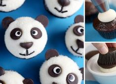 Small panda cupcakes are really good and you can make them for any event. You will love the fact that within about 10 minutes you will have a batch of cupcakes Panda Cupcakes, Cupcake Heaven, Cookies, Recipes, Diy, Food, Angelica Maria, Birth, Kids