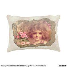 #VintageGirl Framed #SoftFloral #AccentPillow by #MoonDreamsMusic #ShabbyChic #VintageFrame