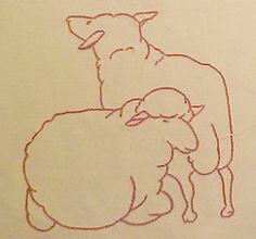 Sheep block of the McKim Farm Quilt (lasassone) Tags: sheep redwork farmquilt