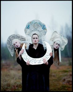 Triglava (Three-headed Goddess) by Uldus - The female heroines of Russian fairy tales are called tsarevna, who are under the protection of the moon, the cosmic body that rules femininity. This three-headed Slavic tsarevna represents the three elements tha Traditional Fairy Tales, Modern Fairy Tales, Foto Fantasy, Celtic, Surreal Photos, Photographs, Russian Folk, Russian Style, Russian Fashion