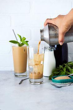 Mint Mojito Iced Coffee {Paleo and Keto Options} - Tasty Yummies Thai Iced Coffee, Best Iced Coffee, Turkish Coffee, Coffee Coffee, Coffee Drinks, Morning Coffee, Chocolates, Coffee Ingredients, Recipes