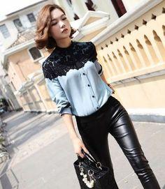 Camisa encaje / lace shirt wh282