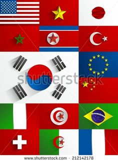 World Flags Collection Set Vector Illustration by boivin nicolas, via Shutterstock