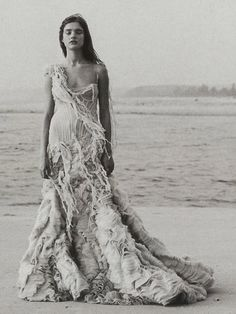 (Alexander McQueen Gown, photographed by Peter Lindbergh) via A Summer Seabreeze / Wedding Style Inspiration / LANE Wedding Theme Inspiration / A Summer Sea Breeze / Beach Wedding Decor / The LANE http://www.thelane.com/the-guide/themes/a-summer-seabreeze