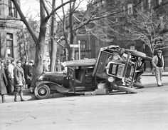 Car and truck collide, Back Bay, 1932