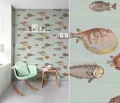 papier peint poissons cole and son