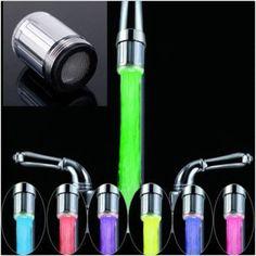 Hause Wasserhahn Licht LED 7 Farben Ändern Glühen-dusche-stream-tap universal adapter externe Linke schraube Glow Küche Bad