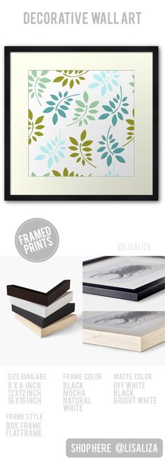 Nature Green Leaves Decorative Pattern Framed Prints  Framed prints in a range of sizes, styles and frame colors.  Beautifully hand made for you out of the finest materials and archival quality papers   #Framedprints #Homedecor #Framedprintbedroom #Gifts   #Framedprintsonwall #Onwall #Wallart #Modern #Classyhomedecor   #presents #Art #Framedprintsart  #RedBubbleFrameprints #Redbubble #Lisaliza #Pattern