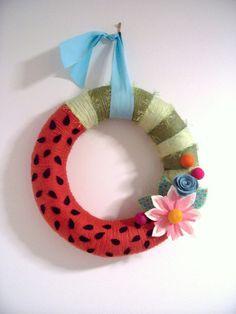 Watermelon Dandy Handmade Yarn Wreath. $38.00, via Etsy.
