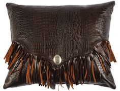 Gator leather pillow with fringe