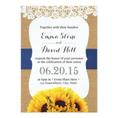 Rustic Burlap Sunflowers Laced Wedding