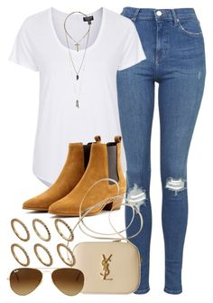 """""""Style #9192"""" by vany-alvarado ❤ liked on Polyvore featuring Topshop, Yves Saint Laurent, Ray-Ban, Relic and Pieces"""