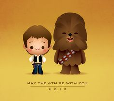 https://flic.kr/p/bT8pWH | Kawaii Han and Chewie | In honor of Star Wars day, I give you Han Solo and Chewbacca all kawaii. May The 4th Be With You.  I did this for the great folks over at Planet-Pulp - Check out all the other great Star Wars images and amazing art. www.planet-pulp.com/2012/05/best-friends.html