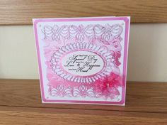 Card made with sue Wilson dies and cherry embossing folder from crafters companion with buffet pink ink