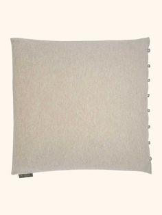 Cashmere Cushion With Looped Buttons in Heather Stone Brown - N.PEAL Luxury Cashmere