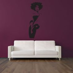 elegant woman wall stickers female art pics photos abstract gray flowers murals for