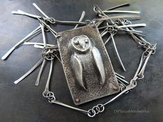 Repousse owl fine silver hand wrought link by DiPiazzaMetalworks