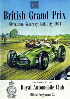 Poster for the 1951 British Grand Prix. Pin Ups Vintage, Vintage Race Car, Jeep Carros, Course Automobile, Online Galerie, British Grand Prix, Surfer, Car Posters, Travel Posters