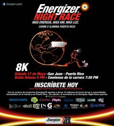 Participa de la mejor carrera nocturna, Energizer Night Race el 17 de mayo en Bahía Urbana. Inscríbete HOY en Ticket Center de Plaza Las Americas. ¡Esto sí es #positivenergy!