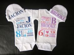 girl or boy personalized birth announcement bodysuit & hat gift novelty cute Twin Babies, Cute Babies, Baby Boys, Twins, Baby Shower Gifts, Baby Gifts, Twin Baby Clothes, Pink Kids, Onesies