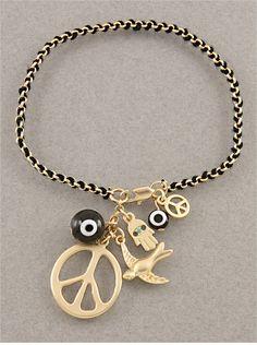 Black Evil Eye Chain Charm Bracelet