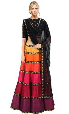 Fantastic multicolor silk designer crop top a-line lehenga for party online. Designer lehenga choli for women online in india. Plus size lehenga choli online Red Lehenga, Party Wear Lehenga, Anarkali, Lehenga Style, India Fashion, Ethnic Fashion, Asian Fashion, Women's Fashion, Indian Attire